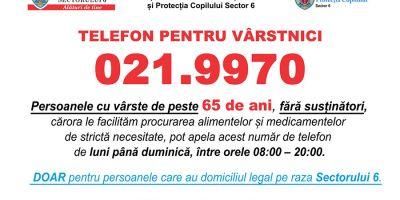 021.9970 - Noul număr de telefon de urgenţă, dedicat exclusiv persoanelor în vârstă din Sectorul 6