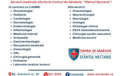 Servicii medicale în contract cu CASMB
